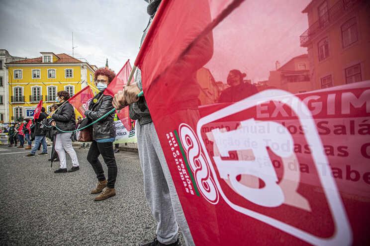 Manifestação nacional da Frente Comum de Sindicatos da Administração Pública, em novembro de 2020