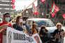 Manifestação do sindicato dos Trabalhadores da Indústria de Hotelaria, Turismo, Restaurantes para denunciar