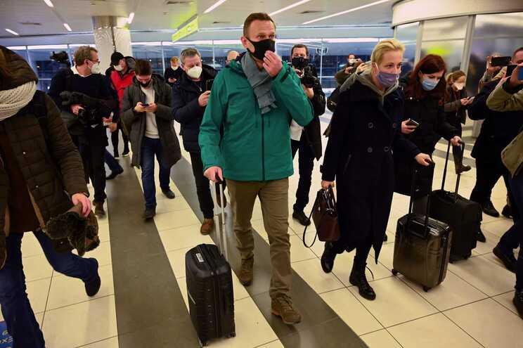 Alexei Navalny foi detido, este domingo, no regresso a Moscovo