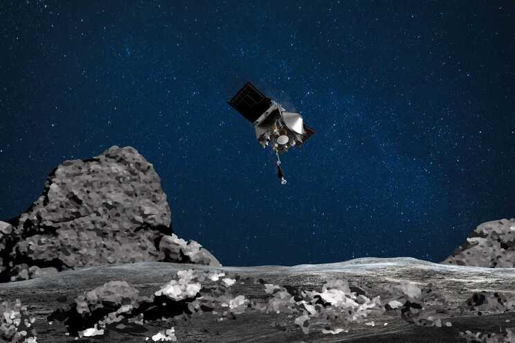 """Imagem digital de projeção do momento do """"toque"""" no asteroide Bennu"""