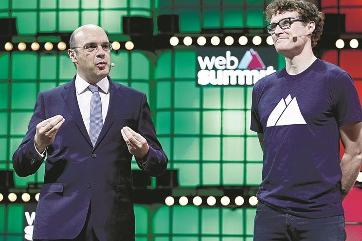 Ministro da Economia, Siza Vieira, e Paddy Cosgrave, fundador da Web Summit