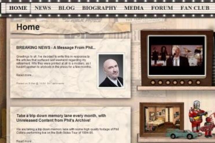 Mensagem de Phill Collins no seu site oficial