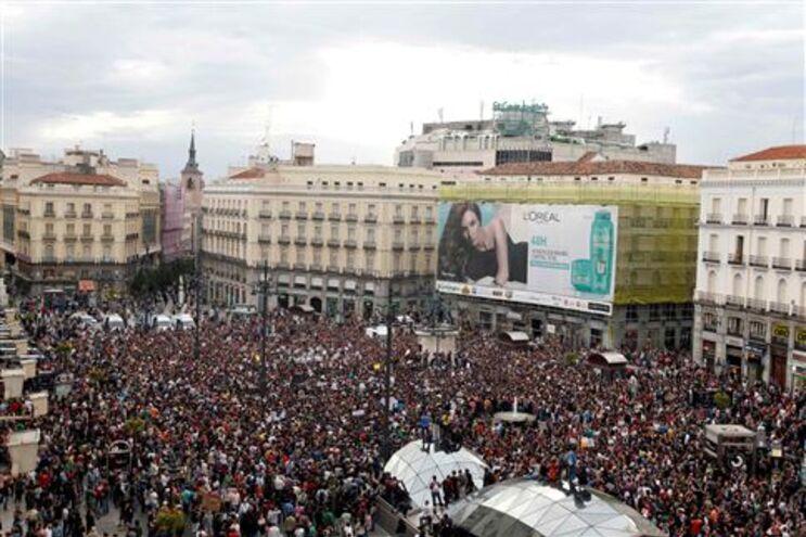Manifestações no centro de Madrid em protesto anti-sistema