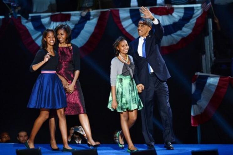 A família Obama na festa da vitória em Chicago