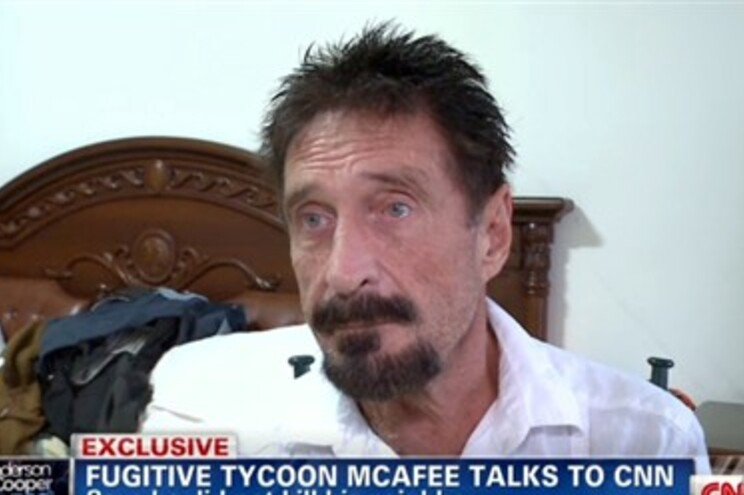 John McAfee durante a entrevista que concedeu à CNN horas antes de ser detido