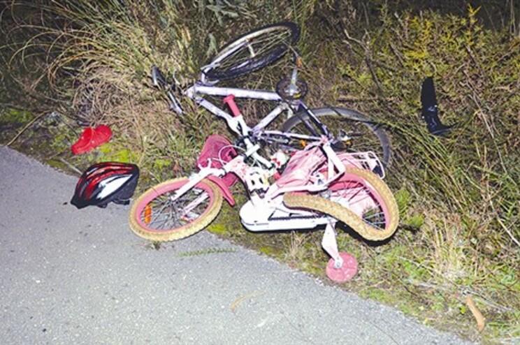 Bicicletas da família com claros sinais do embate