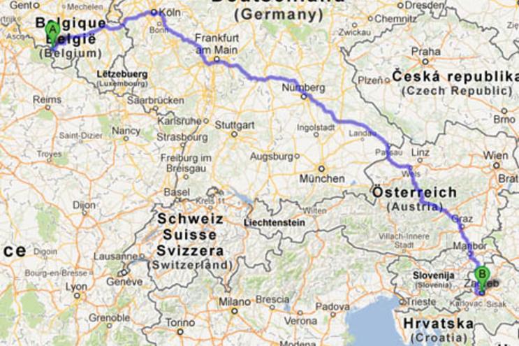 Mulher belga conduz por erro até à Croácia