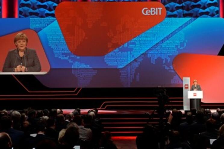 Angela Merkel, chanceler alemã, na abertura da feira de tecnologias de informação Cebit