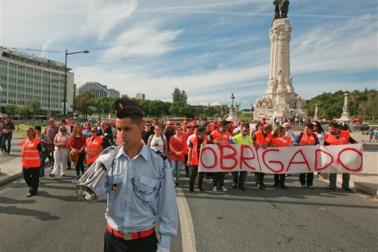 Marcha ao som da fanfarra no centro de Lisboa
