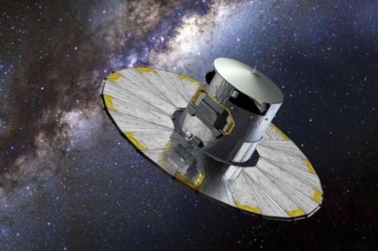 Reprodução artística do satélite Gaia no espaço