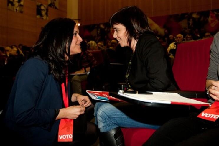 Catarina Martins (direita) com Marisa Matias, cabeça de lista do BE às eleições europeias