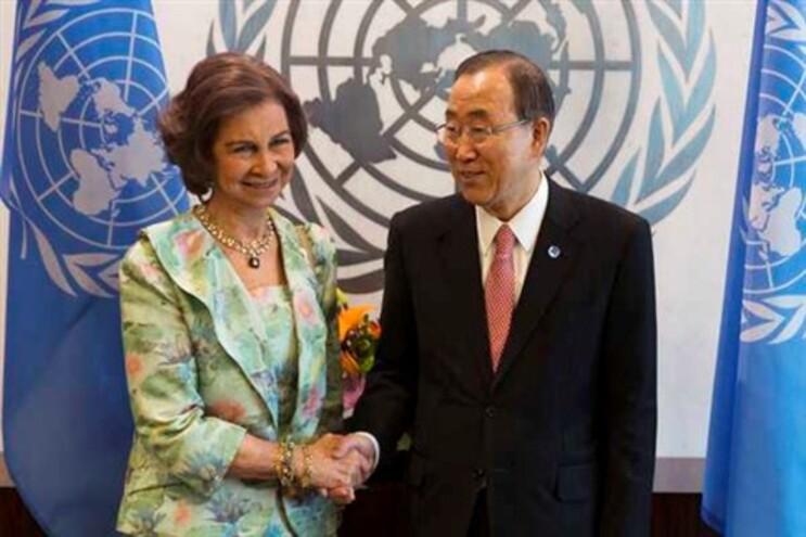 Rainha Sofia com o secretário-geral da ONU
