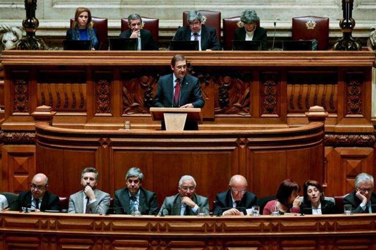 Passos Coelho a discursar no debate sobre o Orçamento do Estado
