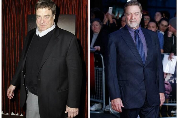 John Goodman em 2011 (à esq.) e em 2015 (à dir.)