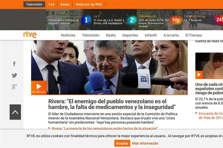 """Os jornalistas """"lamentam a parcialidade das informações da RTVE"""""""