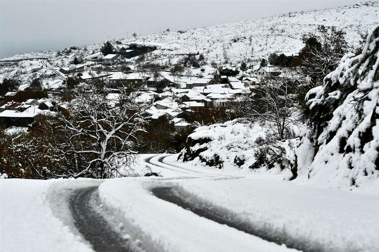 Estrada cortada devido à queda de neve no distrito de Viseu