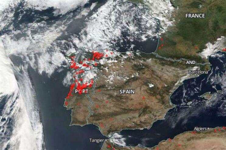 Agência espacial mostra a violência do fogo em Portugal