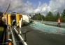 Camião de transporte de vidro capotou na A3