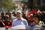 Secretary-general of left wing Union CGTP-IN Armenio Carlos (C) takes part in the May Day demonstration
