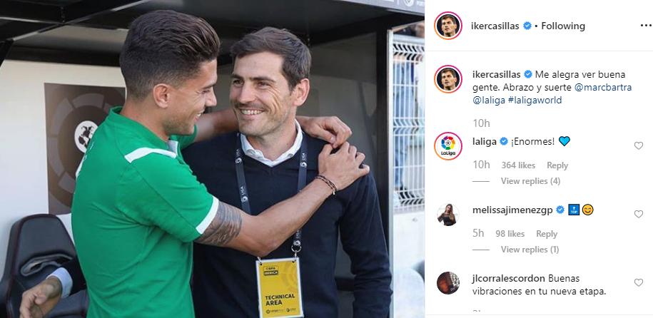 Casillas viu uma cara conhecida e nem a Liga espanhola ficou indiferente
