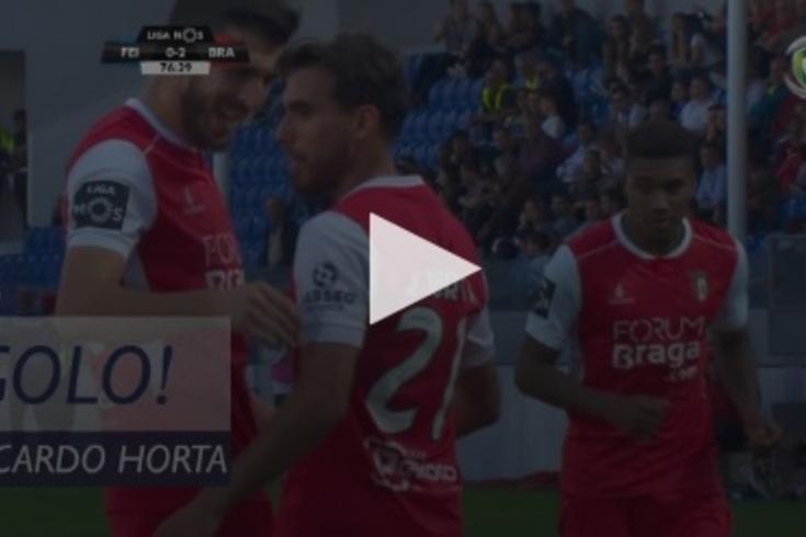 Feirense-Braga: Ricardo Horta atirou de primeira para o segundo golo do Braga