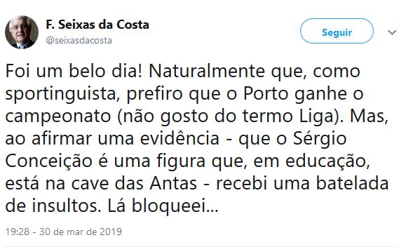 """Seixas da Costa volta a visar Sérgio Conceição e bloqueou """"batelada de insultos"""""""