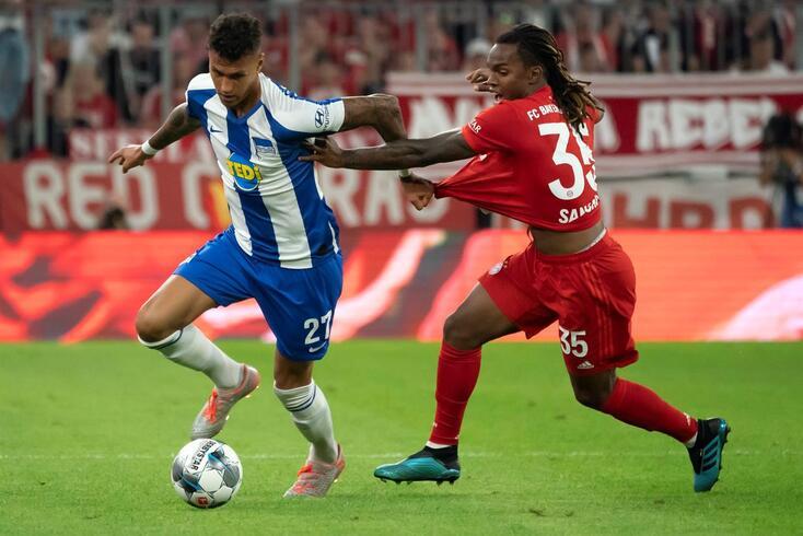 Renato Sanches no jogo com o Hertha