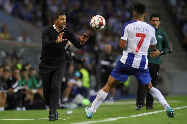 Luis Díaz e Sérgio Conceição no FC Porto-Krasnodar.