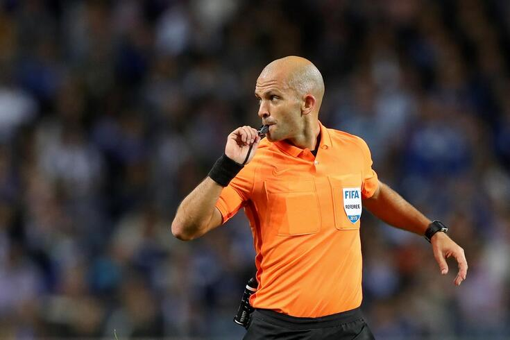 The referee Luis Godinho in action during the Portuguese First League soccer match between FC Porto and
