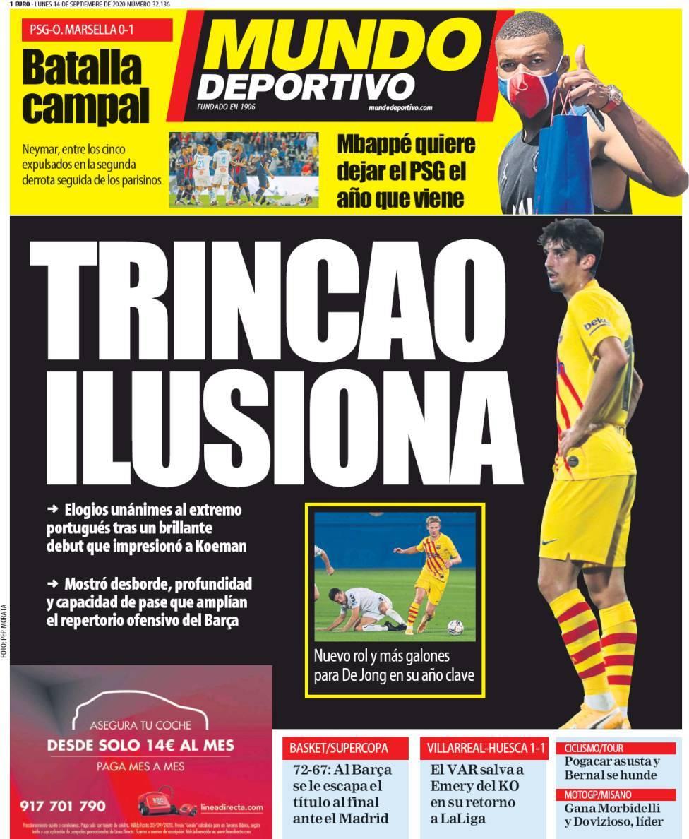 """Trincão mais uma vez manchete em Espanha: português """"dá esperança"""""""