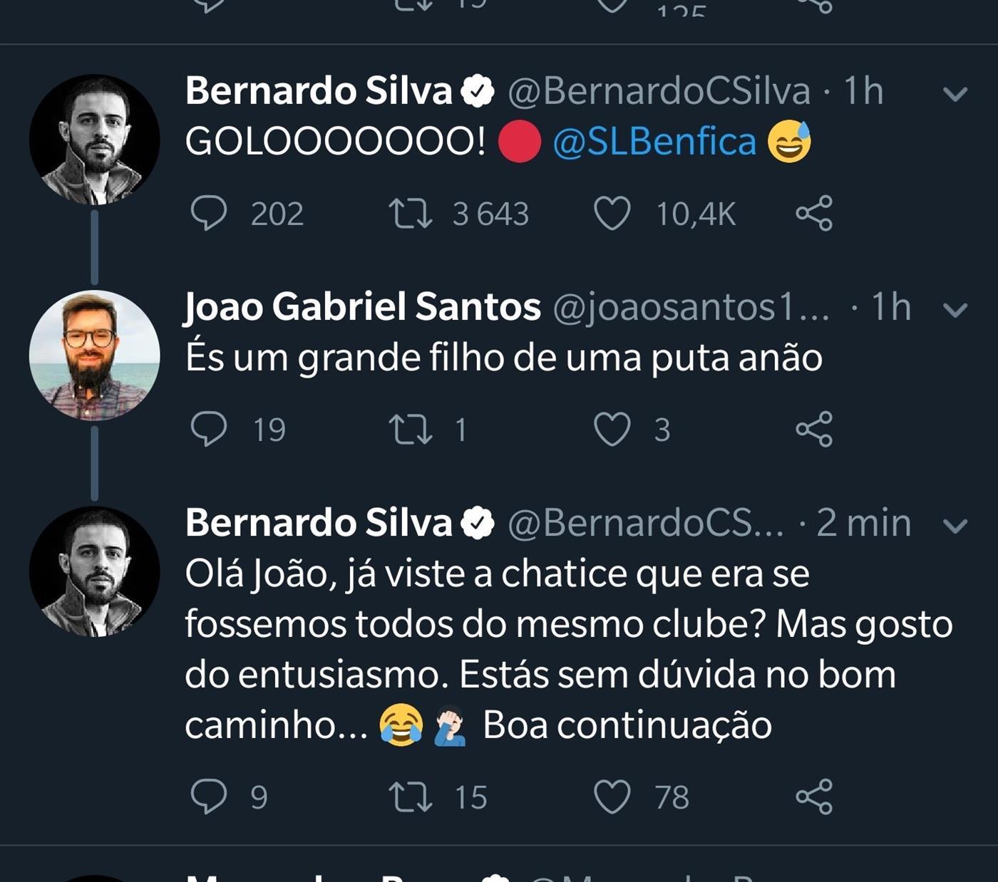 Bernardo Silva festeja golo do Benfica, é insultado e a resposta torna-se viral