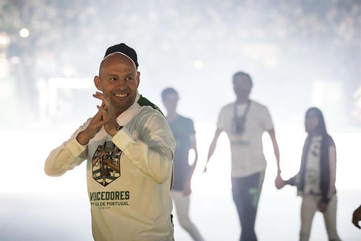Marcel Keizer, treinador do Sporting, na festa em Alvalade, após a conquista da Taça