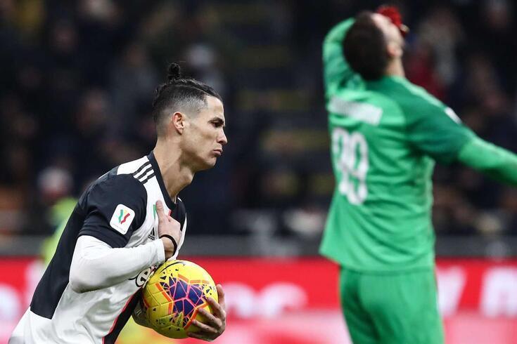 Cristiano Ronaldo marcou o golo do empate da Juventus frente ao Milan (1-1)
