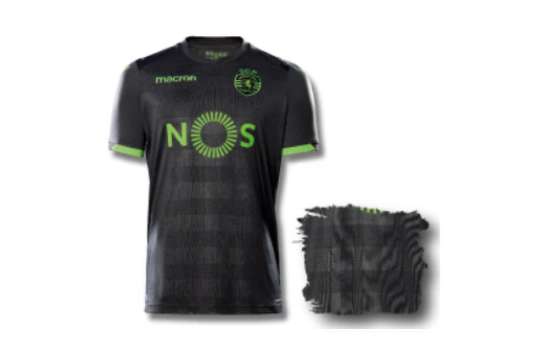 c2cb25471 Novos equipamentos do Sporting. Camisola principal com o...emblema antigo.  Peyroteo homenageado no equipamento