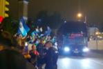 A saída do autocarro do Benfica do Estádio Cidade de Coimbra