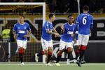 Jogadores do Glasgow Rangers festejam um golo frente ao Young Boys