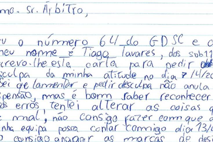 Foi expulso e escreve carta ao árbitro: foi em Portugal e já é notícia internacional