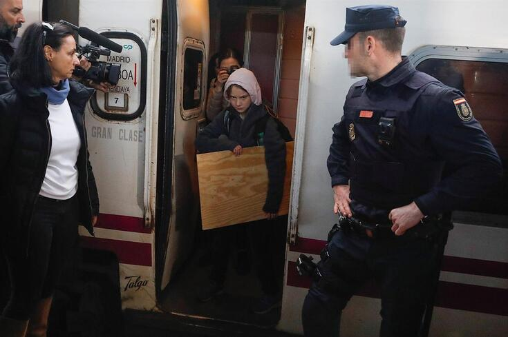 Greta Thunberg à chegada a Madrid