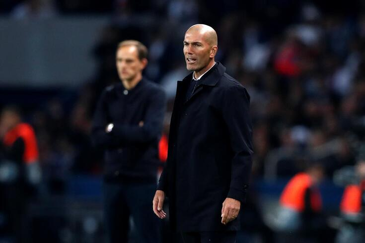 epa07851918 Real Madrid's French head coach Zinedine Zidane during the UEFA Champions League Group A