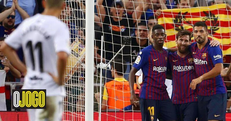 321677368f Foi um banquete em Camp Nou  Barcelona marca oito em jogo com dois  portugueses