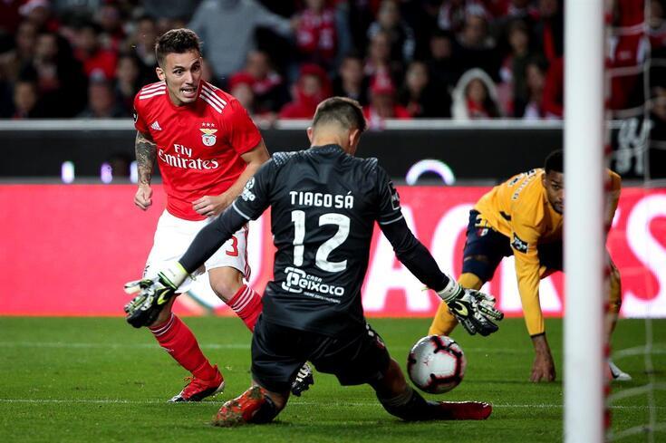 Grimaldo marcou um dos seis golos do triunfo do Benfica frente ao Braga, na Luz