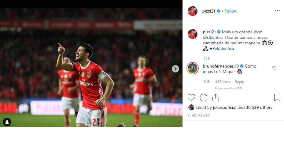 Números de Pizzi impressionam e até Bruno Fernandes comenta
