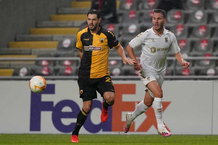 Sequeira foi titular no Braga-AEK, referente à primeira jornada da Liga Europa