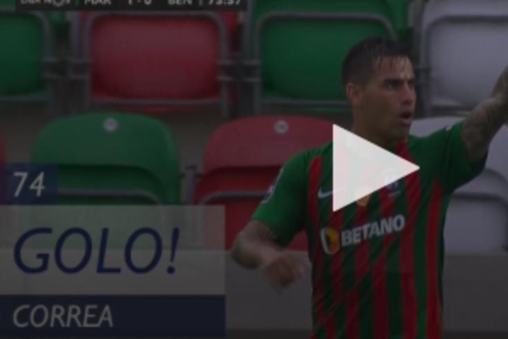 Correa abriu o marcador no Marítimo-Benfica