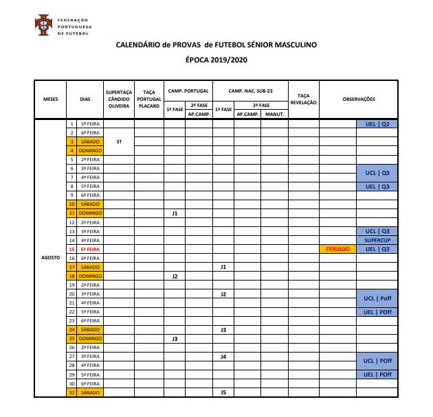 Calendario Liga Nos 2020.Federacao Divulga Calendario Da Epoca 2019 20 A Comecar