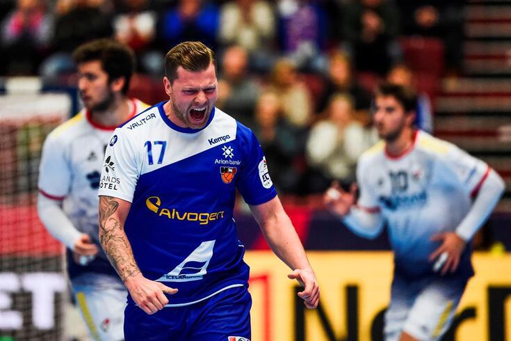 Arnor Tor Gunnarsson festeja um golo contra Portugal