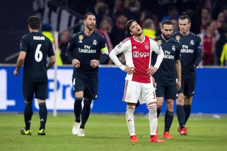 epa07367961 Nicolas Tafliafico of Ajax Amsterdam reacts after Real Madrids 0-1 goal during the UEFA Champions