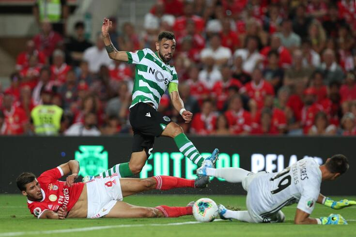 Bruno Fernandes no encontro da Supertaça com o Benfica