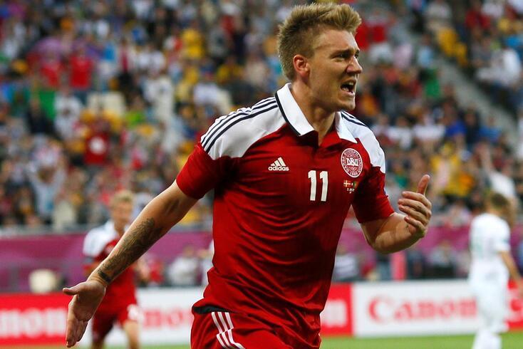 Nicklas Bendtner em ação pela seleção da Dinamarca