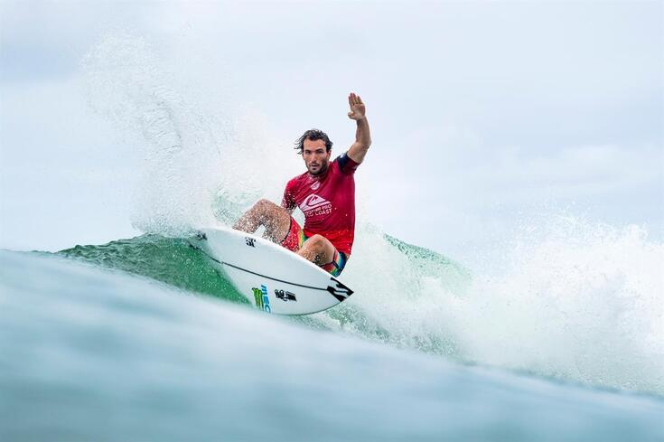 epa06600373 A handout photo made available by the World Surf League (WSL) of Portugal's Frederico Morais